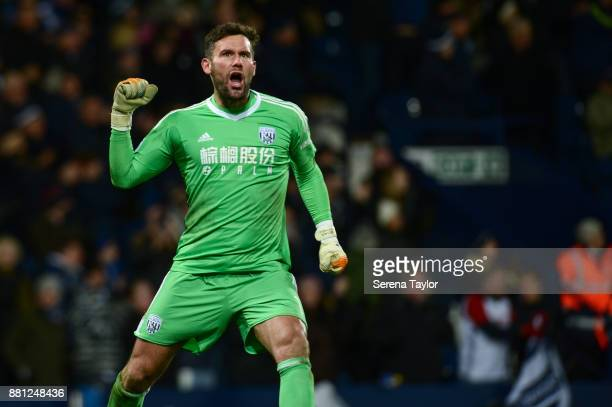 West Bromwich Albion Goalkeeper Ben Foster celebrates after Sam Field of West Bromwich Albion scores their second goal during the Premier League...