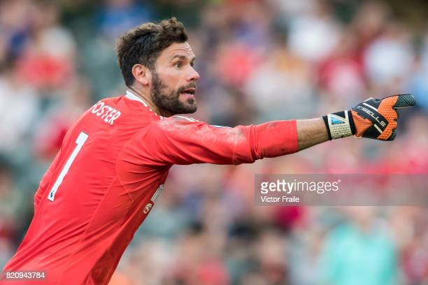 West Bromwich Albion goalkeeper Ben Foster reacts during the Premier League Asia Trophy match between West Brom and Crystal Palace at Hong Kong...