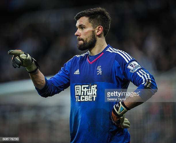West Bromwich Albion goalkeeper Ben Foster stands with one hand on hips and points with the other hand during the Barclays Premier League match...
