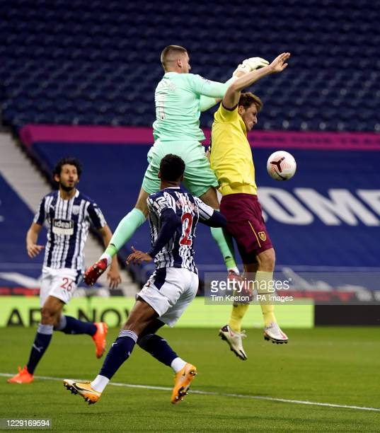 West Bromwich Albion goalkeeper Sam Johnstone drops the ball under pressure from Burnley's Chris Wood during the Premier League match at The...