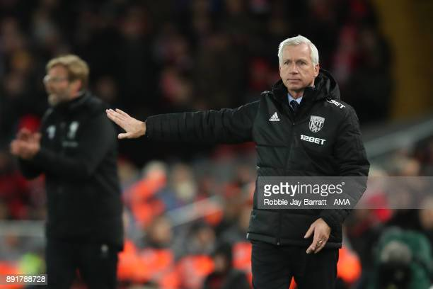West Bromwich Albion Head Coach / Manager Alan Pardew gestures during the Premier League match between Liverpool and West Bromwich Albion at Anfield...