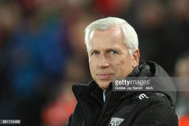 West Bromwich Albion Head Coach / Manager Alan Pardew looks on prior to the Premier League match between Liverpool and West Bromwich Albion at...