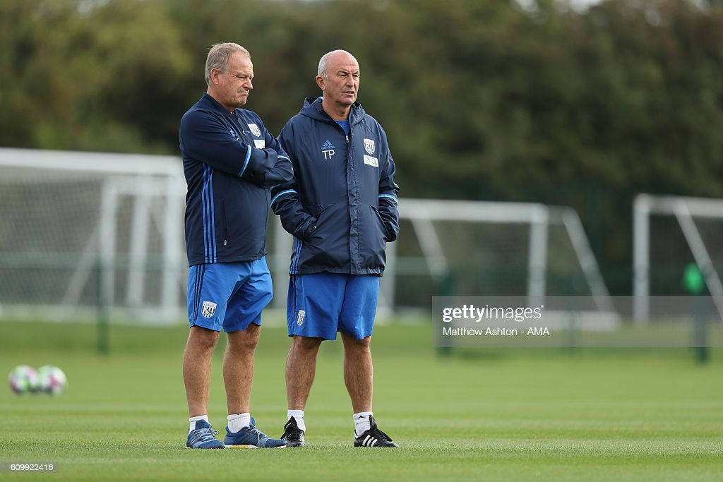 West Bromwich Albion Head Coach Tony Pulis during a training session at West Bromwich Albion Training Ground on September 23, 2016 in Walsall, England.