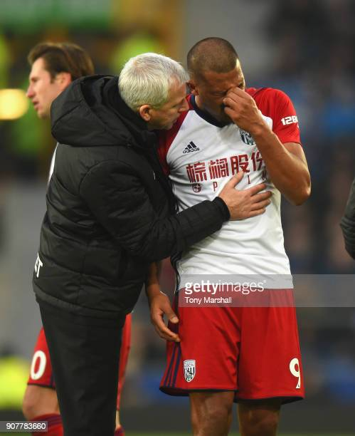 West Bromwich Albion Manager Alan Pardew consoles Salomon Rondon of West Bromwich Albion after his tackle on James McCarthy of Everton during the...