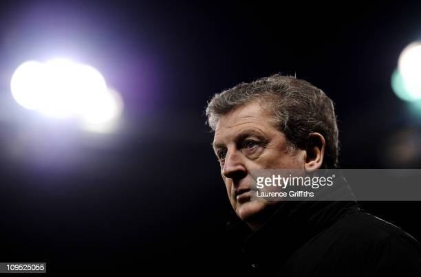 West Bromwich Albion Manager Roy Hodgson looks on prior to the Barclays Premier League match between Stoke City and West Bromwich Albion at The...