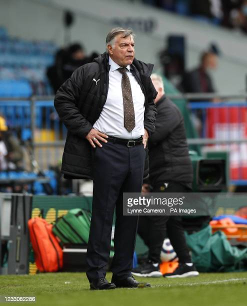 West Bromwich Albion manager Sam Allardyce during the Premier League match at Elland Road, Leeds. Picture date: Sunday May 23, 2021.