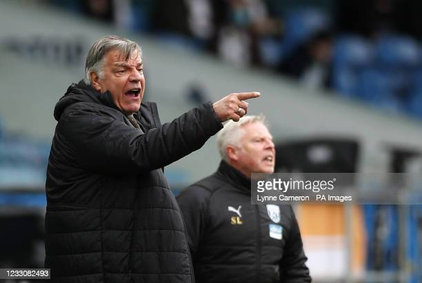 West Bromwich Albion manager Sam Allardyce gestures on the touchline during the Premier League match at Elland Road, Leeds. Picture date: Sunday May...