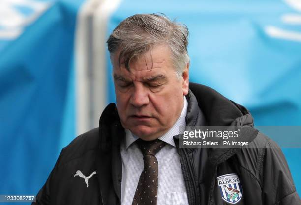 West Bromwich Albion manager Sam Allardyce reacts on the touchline during the Premier League match at Elland Road, Leeds. Picture date: Sunday May...