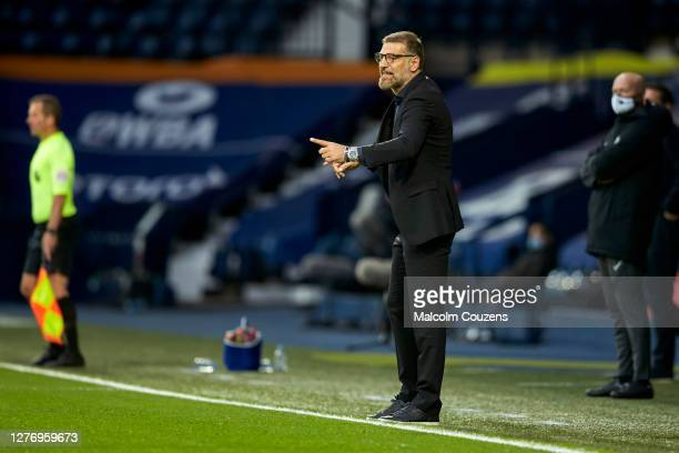 West Bromwich Albion manager Slaven Bilic reacts during the Premier League match between West Bromwich Albion and Chelsea at The Hawthorns on...