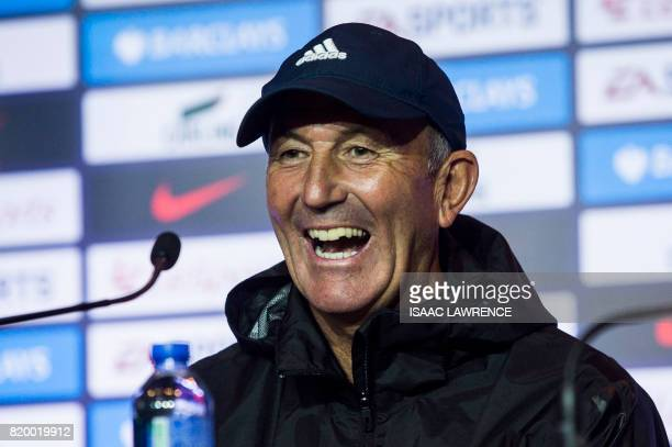 West Bromwich Albion manager Tony Pulis attends a press conference of the Premier League Asia Trophy football tournament in Hong Kong on July 21 2017...