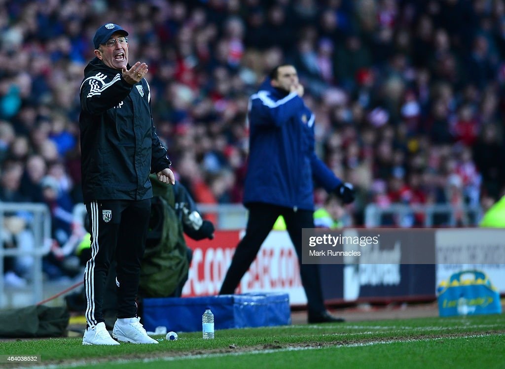 West Bromwich Albion manager Tony Pulis reacts on the touch line during the Barclays Premier League match between Sunderland and West Bromwich Albion at Stadium of Light on February 21, 2015 in Sunderland, England.