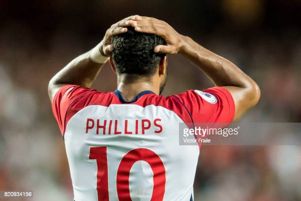 West Bromwich Albion midfielder Matt Phillips reacts during the Premier League Asia Trophy match between West Brom and Crystal Palace at Hong Kong...