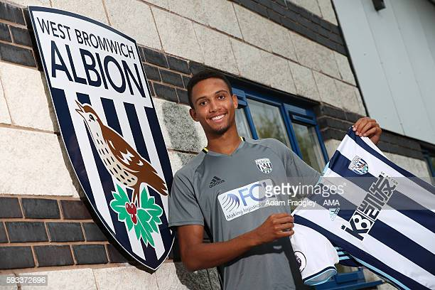 West Bromwich Albion new loan singing Brendan Galloway signs from Everton on August 22, 2016 in West Bromwich, England.