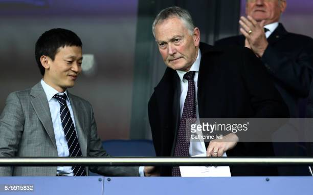 West Bromwich Albion Owner Guochuan Lai with Chairman of the Premier League Richard Scudamore during the Premier League match between West Bromwich...