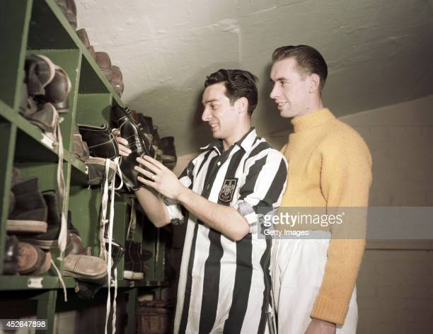 West Brom player Ronnie Allen and goalkeeper Ray Wood in the bootroom circa 1954