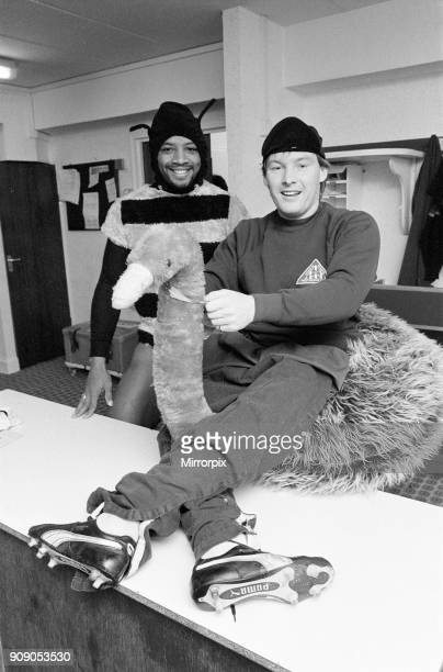 West Bromwich Albion Players Cyrille Regis and Derek Statham wearing fancy dress costumes in dressing room 26th October 1983 The WBA players know all...