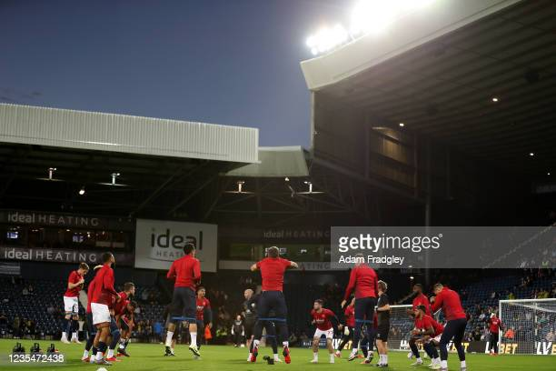 West Bromwich Albion players during the pre-match warm up ahead of the Sky Bet Championship match between West Bromwich Albion and Queens Park...