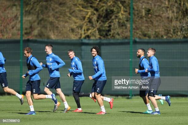 West Bromwich Albion players training during a West Bromwich Albion training session on April 5 2018 in West Bromwich England