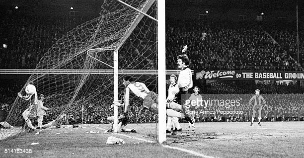 West Bromwich Albion striker Cyrille Regis scores with a diving header during their FA Cup 5th round victory over Derby County at the Baseball Ground...