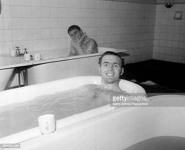 West Bromwich Albion striker Jeff Astle smiling in the bath after their FA Cup 4th round replay against Southampton at the Dell in Southampton 21st...