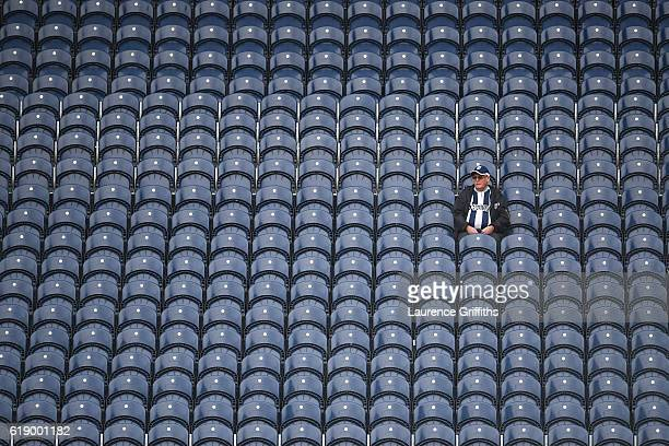 West Bromwich Albion supporter is seen on the stand prior to the Premier League match between West Bromwich Albion and Manchester City at The...