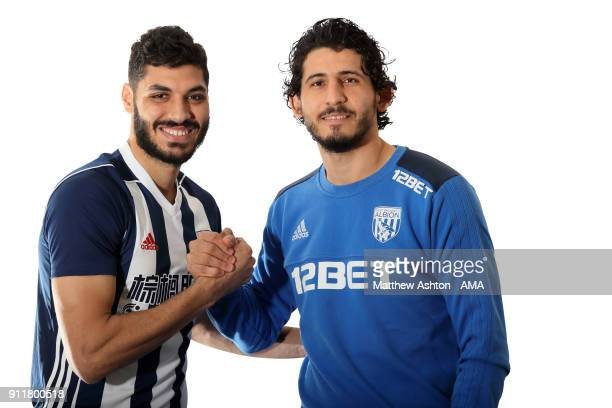 West Bromwich Albion Unveil New Signing Ali Gabr with Egyptian international Ahmed Hegazi on January 29 2018 in West Bromwich England