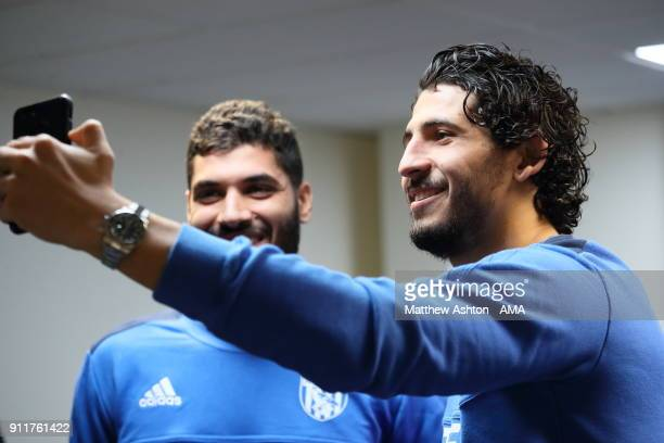 West Bromwich Albion Unveil New Signing Ali Gabr with fellow Egyptian international Ahmed Hegazi on January 29 2018 in West Bromwich England