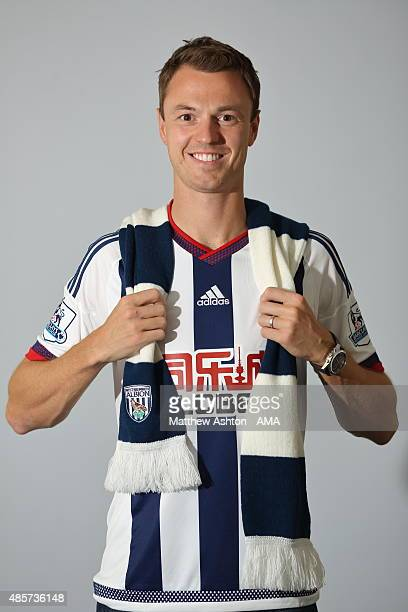 West Bromwich Albion unveil new signing Jonny Evans from Manchester Untied at West Bromwich Albion Training Ground on August 28 2015 in Walsall...