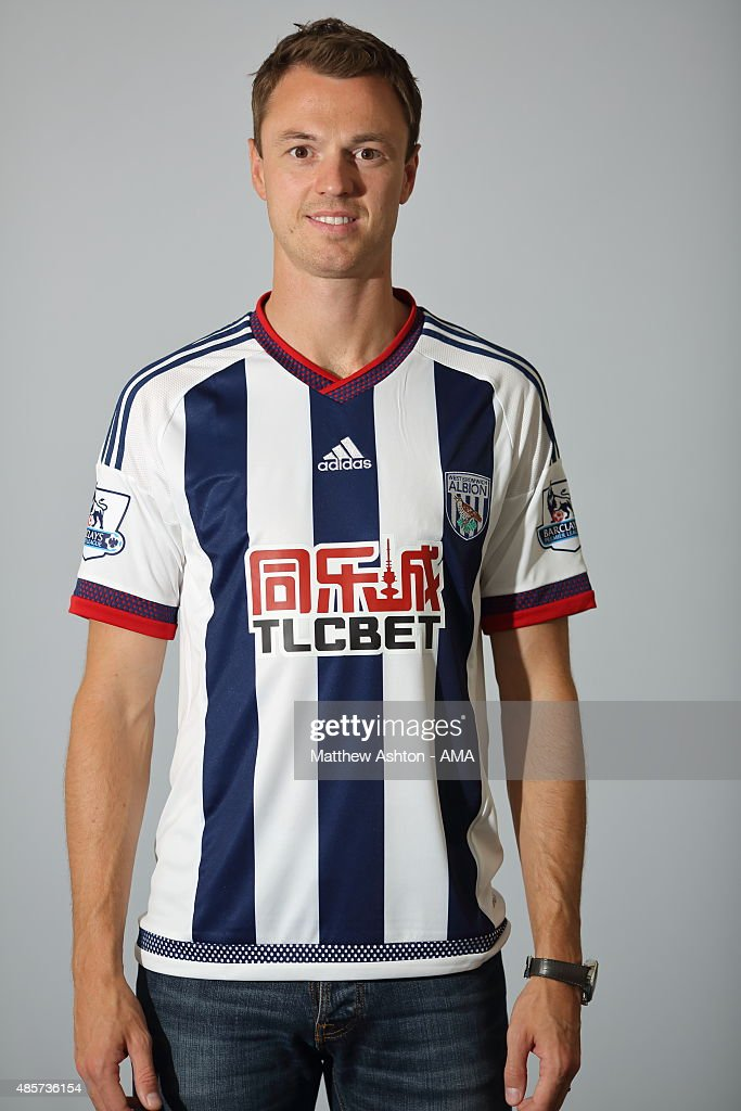 West Bromwich Albion unveil new signing Jonny Evans from Manchester Untied at West Bromwich Albion Training Ground on August 28, 2015 in Walsall, England.