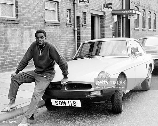 West Bromwich Albion winger Laurie Cunningham with his sportscar outside the Hawthorns in West Bromwich 12th September 1977