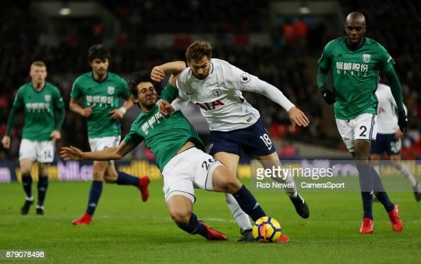 West Bromwich Albion's Ahmed Hegazi challenges Tottenham Hotspur's Fernando Llorente during the Premier League match between Tottenham Hotspur and...