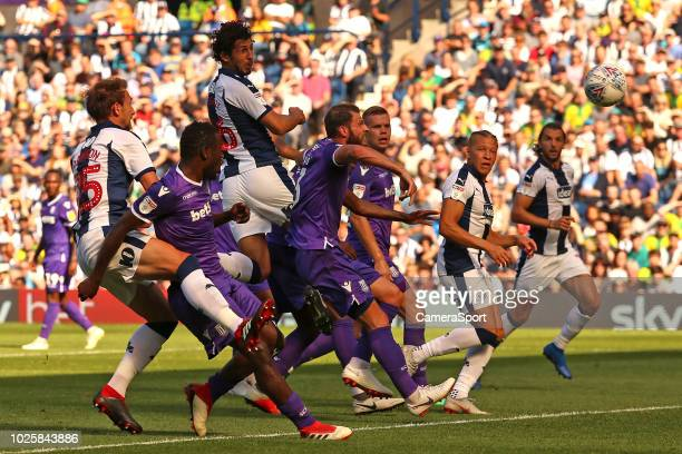 West Bromwich Albion's Ahmed Hegazy aims a header towards goal during the Sky Bet Championship match between West Bromwich Albion and Stoke City at...