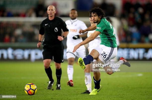 West Bromwich Albion's Ahmed Hegazy in action during the Premier League match at the Liberty Stadium Swansea