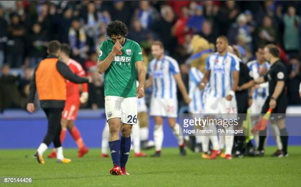 West Bromwich Albion's Ahmed Hegazy shows his dejection after the final whistle of the Premier League match at the John Smith's Stadium Huddersfield