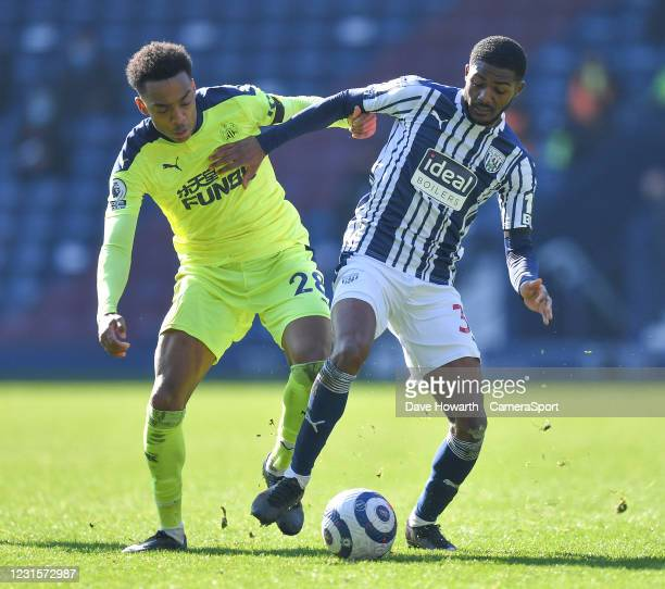 West Bromwich Albion's Ainsley Maitland-Niles battles with Newcastle United's Joe Willock during the Premier League match between West Bromwich...