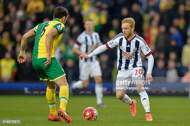 West Bromwich Albion's Alex Pritchard in action during the Barclays Premier League match between West Bromwich Albion and Norwich City at The...