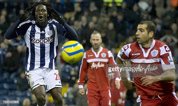 West Bromwich Albion's Belgian forward Romelu Lukaku reacts after a missed shot on goal during the English FA Cup third round replay football match...