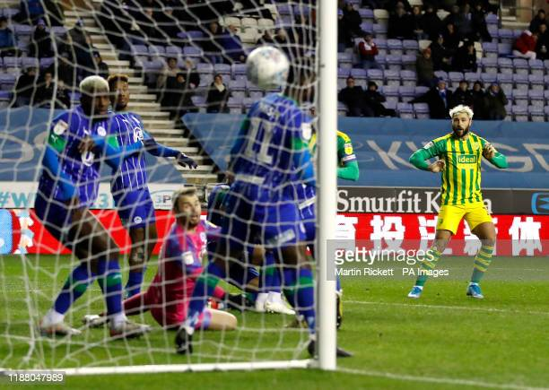 West Bromwich Albion's Charlie Austin scores his side's first goal of the game from an indirect free-kick during the Sky Bet Championship match at...