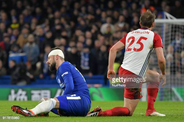 West Bromwich Albion's Craig Dawson puts in a hard tackle on Chelsea's Olivier Giroud during the Premier League match between Chelsea and West...