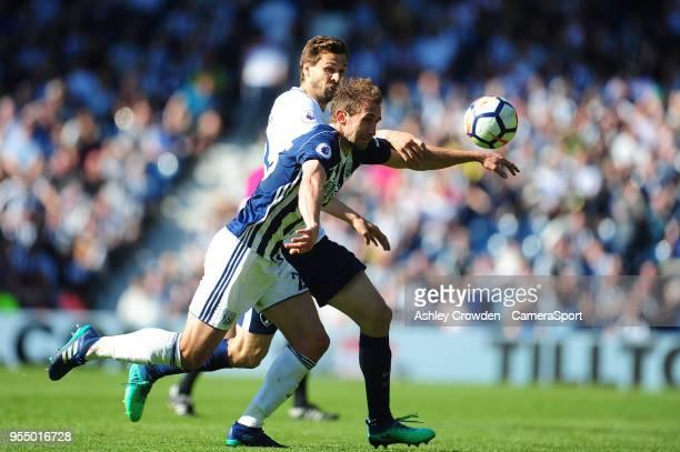 West Bromwich Albion's Craig Dawson vies for possession with Tottenham Hotspur's Fernando Llorente during the Premier League match between West...