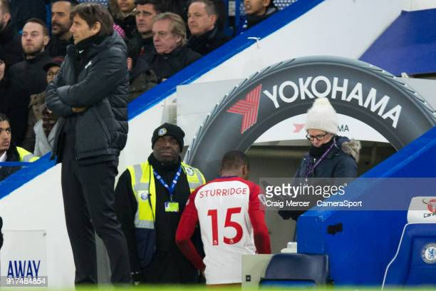 West Bromwich Albion's Daniel Sturridge goes down the tunnel after a very early substitution during the Premier League match between Chelsea and West...