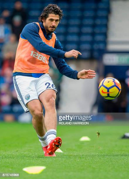 West Bromwich Albion's Egyptian defender Ahmed Hegazy ahead of the English Premier League football match between West Bromwich Albion and Chelsea at...