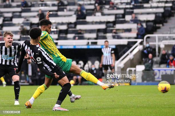 West Bromwich Albion's English defender Darnell Furlong shoots to score their first goal during the English Premier League football match between...