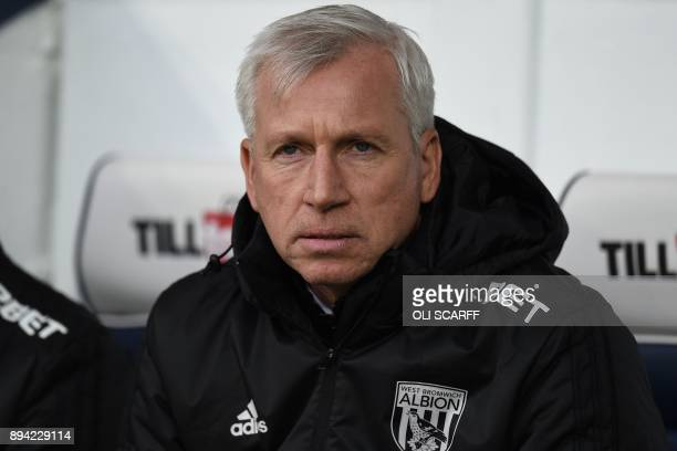 West Bromwich Albion's English head coach Alan Pardew awaits kick off in the English Premier League football match between West Bromwich Albion and...