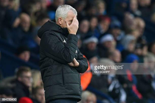 West Bromwich Albion's English head coach Alan Pardew reacts on the touchline during the English Premier League football match between West Bromwich...