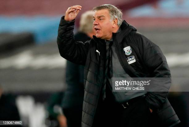 West Bromwich Albion's English head coach Sam Allardyce reacts during the English Premier League football match between West Ham United and West...