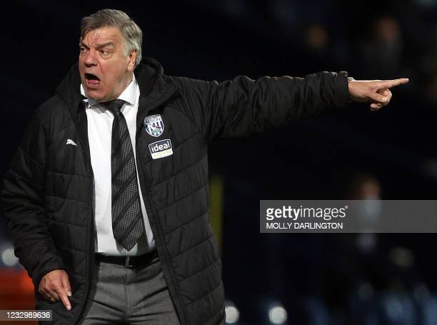 West Bromwich Albion's English head coach Sam Allardyce reacts during the English Premier League football match between West Bromwich Albion and West...