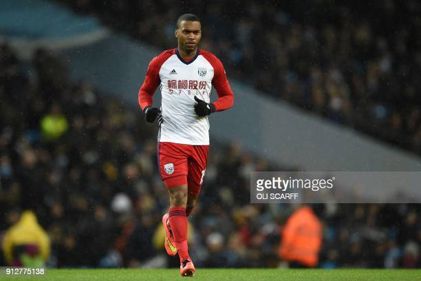 West Bromwich Albion's English striker Daniel Sturridge comes on to make his debut during the English Premier League football match between...