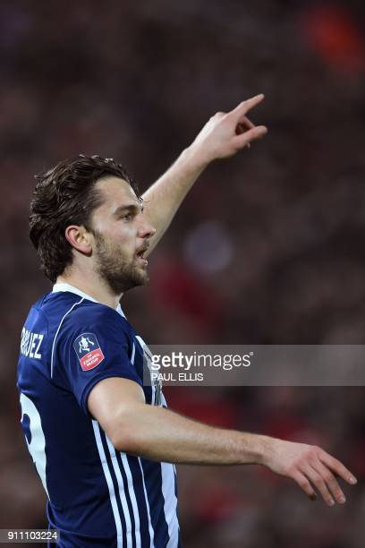 West Bromwich Albion's English striker Jay Rodriguez celebrates after scoring their first goal during the English FA Cup fourth round football match...