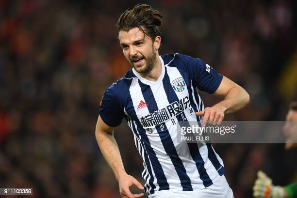West Bromwich Albion's English striker Jay Rodriguez celebrates after scoring their second goal during the English FA Cup fourth round football match...